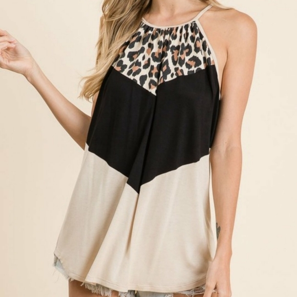 Tops - Leopard Block Top